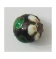 Perla cloisonné nera 8 mm