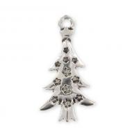 Ciondolo albero di natale argento antico