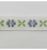 nastro operato blu con fiori 10 mm x 1 metro