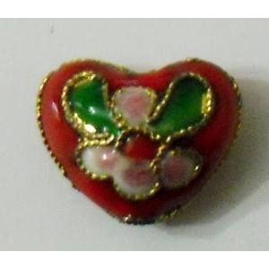 cloisonné cuore rosso 12 x 10 mm