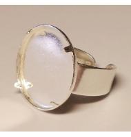 base anello argento 925 castone ovale piatto da 25 x 18 mm