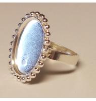 base anello argento 925 castone ovale piatto da 18 x 13 mm