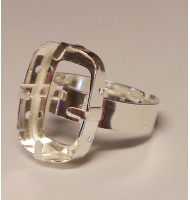 base anello argento 925 castone swarovski 4547 da 24 x 8 mm