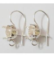 coppia di perni per orecchini argento 925 castone da 3 mm
