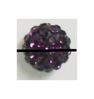 perla pavè di strass semi-forata 8 mm amethyst