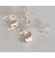 coppia di ganci chiusi per orecchini argento 925 castone da 8 mm