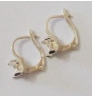 coppia di ganci per orecchini chiusi cabochon navetta argento 925