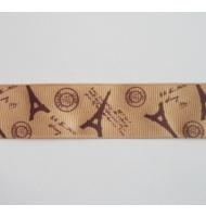 nastro gros grain stampato lilla con tour eiffel 25 mm x 2 metri