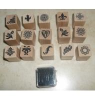 kit 6 timbti in legno natalizi + inchiostro