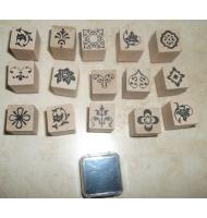 kit 15 timbri in legno decori floreali + inchiostro
