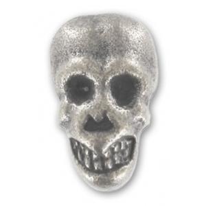 Bottone teschio con piedino argento brunito 15 x 9 mm