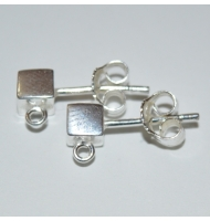 coppia di perni per orecchini argento 925 con pallina da 4 mm