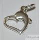 Moschettone a cuore da 13 mm argento 925