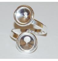 base anello argento 925 castone swarovski 1122 da 10 mm