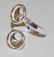 base anello argento 925 doppio castone swarovski 1122 da 8 mm