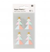 16 stickers 3D albero di Natale 57 mm colori pastello e oro