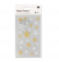 16 stickers 3D albero di Natale 43 mm colori pastello e oro