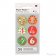 24 stickers numeri calendario dell'avvento 28 mm verde e rosso