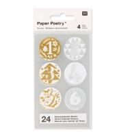24 stickers numeri calendario dell'avvento 28 mm argento e oro
