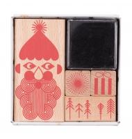 kit 4 timbri in legno natalizi + inchiostro