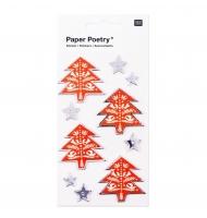 6 stickers 3D albero di Natale 4 cm oro e argento