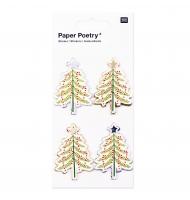 4 stickers 3D albero di Natale colori pastello e oro 5,5 cm