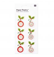 4 stickers 3D albero di Natale oro e argento 5 cm