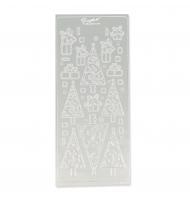 Stickers natalizi in rilievo argento foglio da 10 x 23 cm
