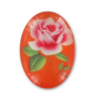 Cabochon acrilico fiore avorio 18 x 13 mm