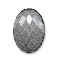 Cabochon acrilico sfaccettato nero 25 x 18 mm