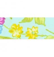 sbieco in poliestere 25 mm bianco con fiori