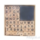 kit 48 timbri in legno lettere e numeri + inchiostro