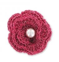Fiore crochet in filo metallizzato beige 40 mm