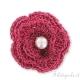 Fiore crochet in filo metallizzato lampone 40 mm