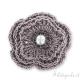Fiore crochet in filo metallizzato grigio 40 mm