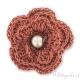 Fiore crochet in filo metallizzato ruggine 40 mm