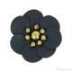 Fiore in simil cuoio blu scuro 30 mm