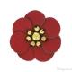Fiore in simil cuoio rosso 30 mm