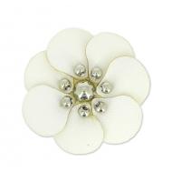 Fiore in simil cuoio bianco 30 mm