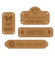 Set da 3 etichette Made With Love rosse 6 x 1,5 cm